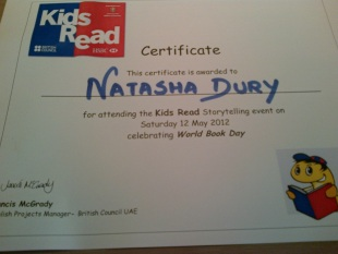 NJD gets a certificate...one of many she's been bringing home recently :)...proud mum!