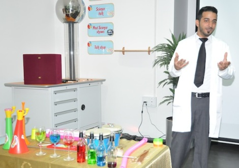 Our colleague Mohammed does the Sound of music show at Bahrain Science Centre